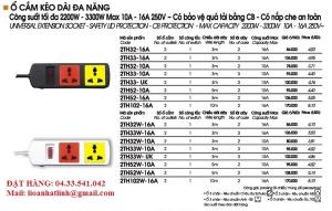 Ổ CẮM ĐA NĂNG 2 Ổ 3 Ổ 3 CHẤu 10A 16A MÃ 2TH 3D32 3D52 3D33N 3D33WN